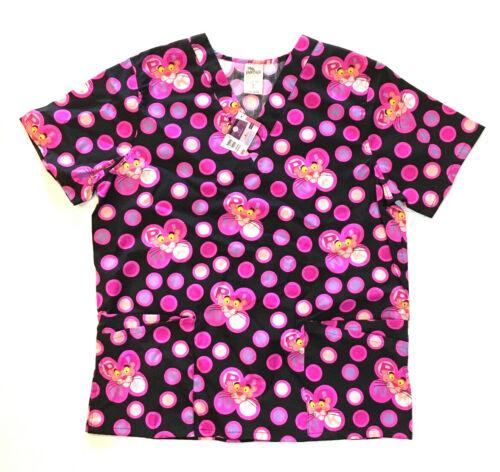 NWT Large Pink Panther Scrub Top Double Pockets V Neck Nurse Vet Pediatrics