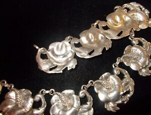 113-9g-sterling-SILVER-034-flower-034-art-choker-Necklace-by-Black-Star-estate