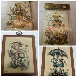 Lot-of-4-Vintage-Hummel-Wood-Plaques-Wall-Hangings-5-034-x-6-034-2-Evans-2-Brand-New