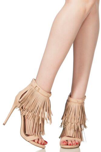 Faux Leather Fringe Single Sole Heels #JERSEY-01