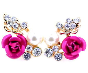 Gold-tone-pink-rose-with-crystal-and-pearl-stud-earrings