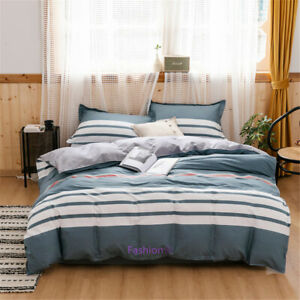 Single-Double-Queen-King-Bed-Quilt-Doona-Duvet-Cover-Set-Cross-Stripe-Cotton