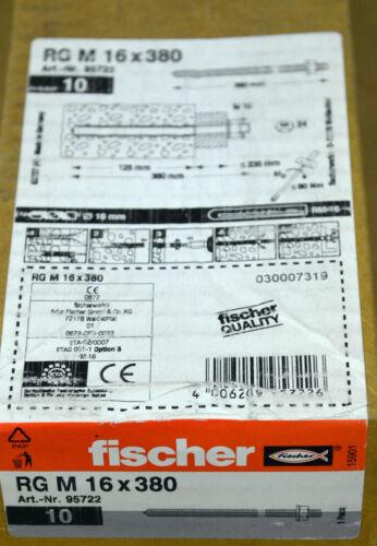 Fischer RG M 16 x 380 Threaded Rod 95722 10 Piece = 1ve NEW