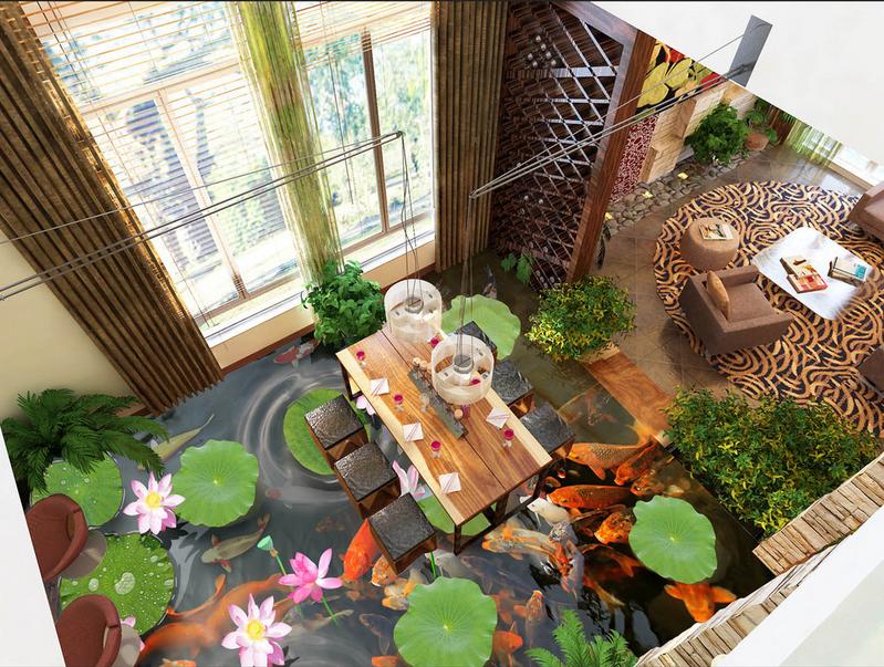 3D Lotus Karpfen 546 Fototapeten Wandbild Fototapete Tapete Familie DE Lemon