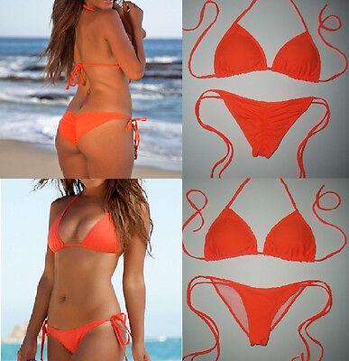 BRAZILIAN SCRUNCH BIKINI Orange Padded Triangle String Bikini Swimsuit S (2-6)