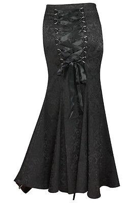 Black / Red Gothic Fishtail Corset Vintage Victorian Vampire Mermaid Skirt NO 14