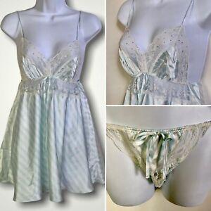 Rare VICTORIAS SECRET Vtg Blue Stripe Second Skin Satin Babydoll Panty Set Large