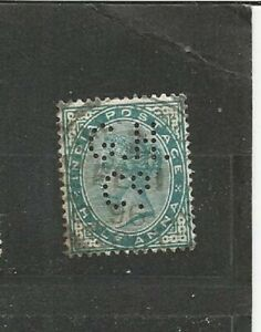 Perfins-perfin-Reine-Victoria-India-Postage-Asie-OLD-STAMPS-TIMBRES-SELLOS
