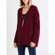 People Lofty V Neck Sweater L Wine Long Cozy Oversize Ebay