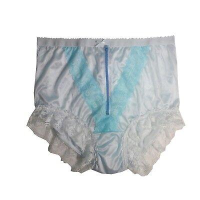 NLH09D05 Fair Blue Zipper  Handmade Floral Granny Briefs Nylon Panties Women Men