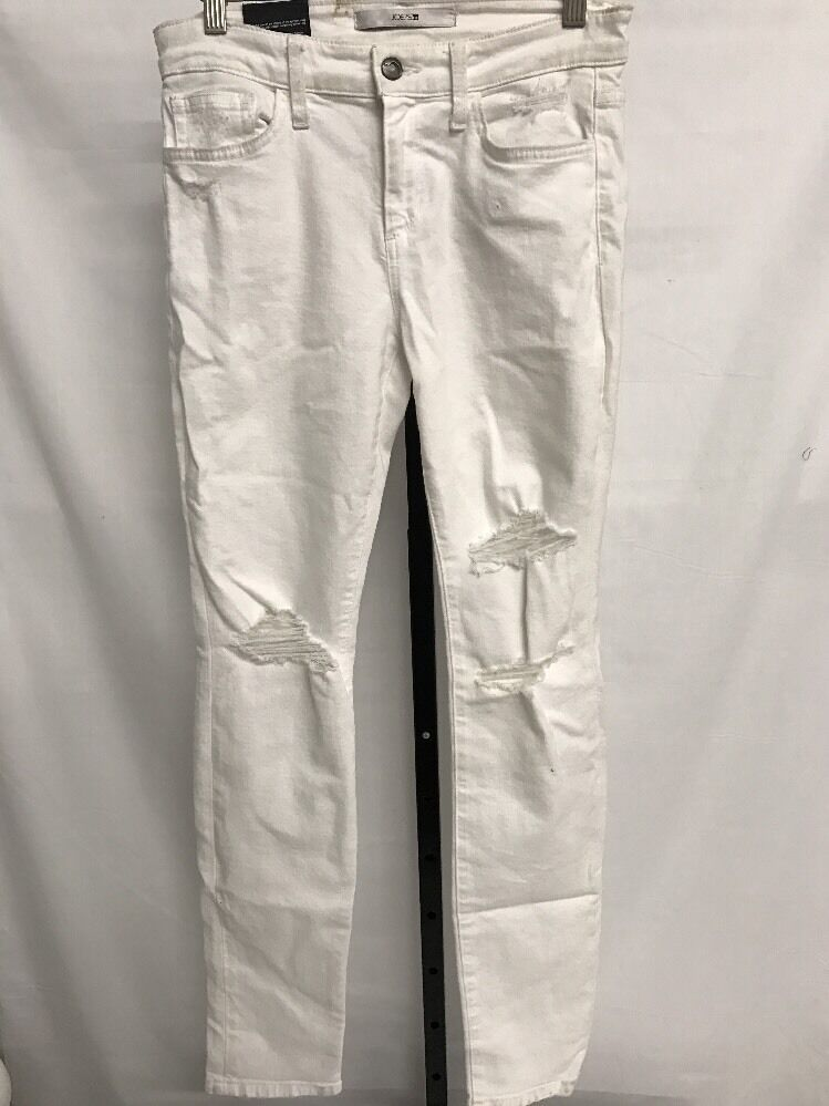 JOE'S JEANS MID RISE THE MARKIE CROP PANTS STONE KNEE HOLES Weiß SZ 28 NEW  189