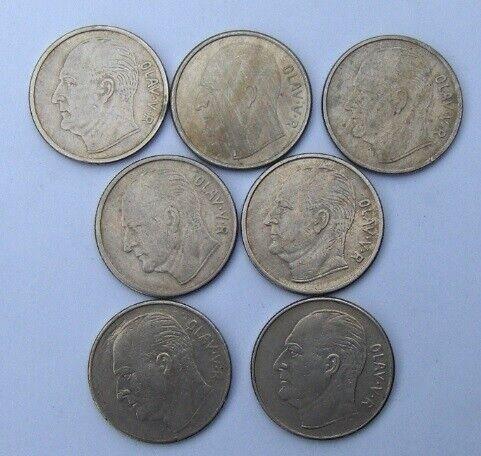 Skandinavien, mønter, 7 x 1 Krone