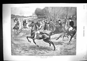 Old-1899-Drag-Hunt-Epping-Forest-Hunting-Horses-Lady-Curzon-Wife-Vice-19th