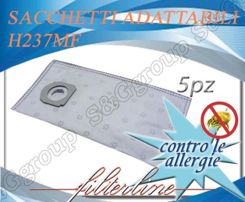 H237MF 5 sacchetti filtro tessuto microfibra aspirapolvere Hoover Athiss ST200F