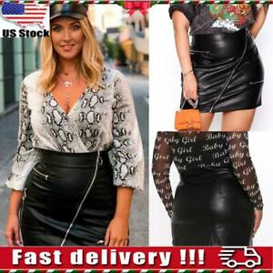 Womens Faux Leather Zipper Bodycon Midi Skiter Ladies Wet Look Club Party Dress