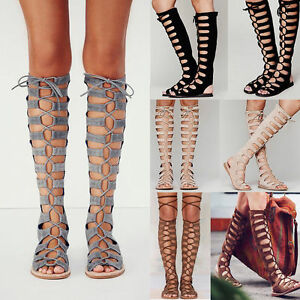 7735832cf3b Chic Womens Flat Lace Up Roman Gladiator Knee High Boot Hollow ...