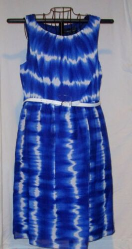 Connected Royal Blue Tie Dye Belted Dress Fully Lined