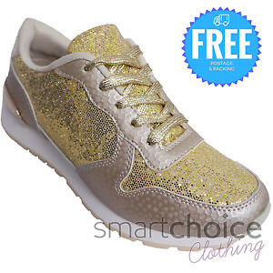 d4d6dda43987 KIDS GIRLS GLITTER GOLD LACE UP LIGHTWEIGHT TRAINERS SPARKLY BLING ...