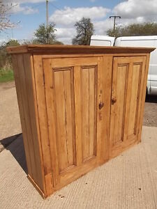 Antique-Large-Stripped-Pine-Cupboard-cabinet-5-shelves-2xdoors-kitchen-cupboard