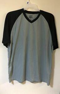 Da-Uomo-Baseball-T-Shirt-Large-Nero-Grigio-Manica-Raglan-Nuovo