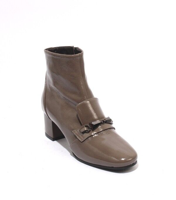 Isabelle 7a Taupe Patent Leather Zip Round Toe Ankle Heels bottes 36   US 6