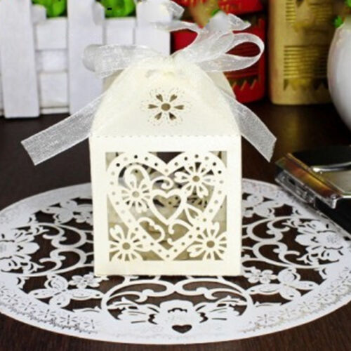 2Pcs Hollow Ribbon Gifts Box Wedding Party Favour Favor Sweet Candy Boxes
