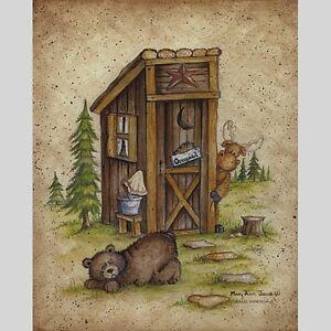8x10 Country Outhouse Moose Bear Unframed Art Print U
