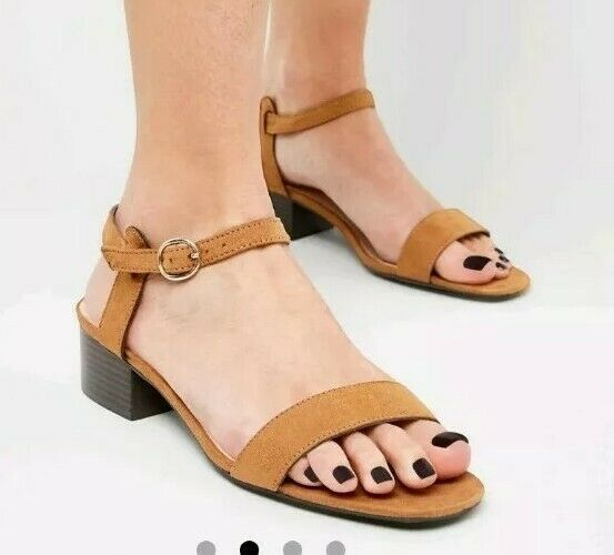 TAN SANDALS size 4 low BLOCK HEEL summer NEW LOOK suedette HOLIDAY strappy