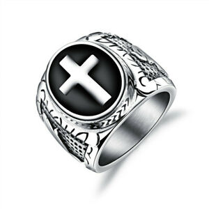 Men-039-s-Biker-Vintage-Stainless-Steel-Christian-Holy-Cross-Prayer-Ring-Band-Gift