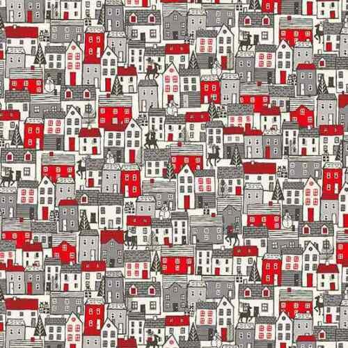 1//2 yarda MAKOWER-Scandi 2020-casas rojo de tela de algodón para edredón