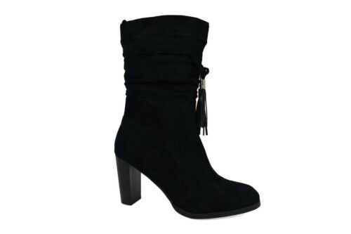 Ladies New Black Pull On Block Heel Tassel Women Boots UK Size 3-8