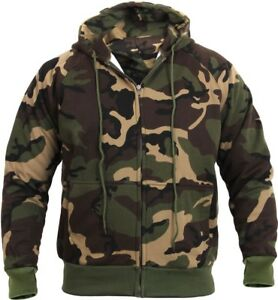 Image is loading Mens-Woodland-Camouflage-Zipper-Sweatshirt-Camo-Hoodie -Thermal- dd2ea6571bf