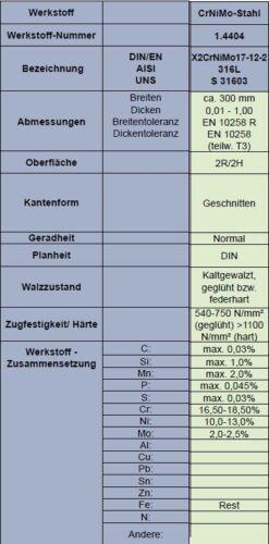Set Scotchbrite 1.4404  L//BS nach Wahl rostbeständiger CrNiMo-Stahl W.-Nr