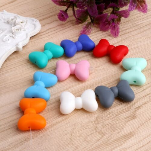 5Pc Bowknot Silicone Teething Bead DIY Chew Necklace Pendent Baby Teether Making