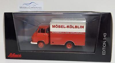 "03235 Hanomag Kurier Box Truck "" Furniture Kölblin Rothenburg O.d Complete In Specifications Schuco 1/43"