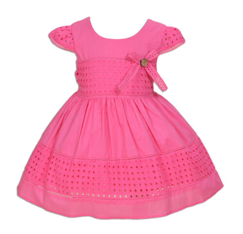 Baby Girls Cotton Party Dress Hot Pink Ivory 6 9 12 18 24 Months
