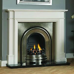 Traditional Gas White Surround Black Granite Cast Iron