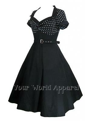 BLACK WHITE POLKA DOT Dress 50s ROCKABILLY Flare Swing Pinup Retro VINTAGE Style
