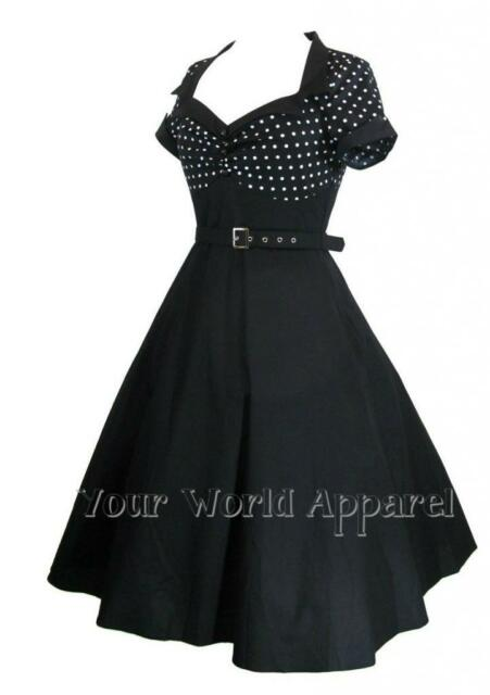 BLACK WITH WHITE POLKA DOT 50s ROCKABILLY FLARE SWING PINUP RETRO VINTAGE DRESS