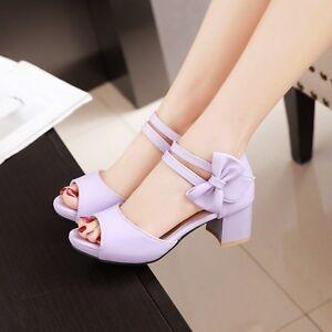 Summer-Women-039-s-Kitten-Heels-Bowknot-Round-Toe-Sweet-Sandals-Buckle-Strap-Shoes