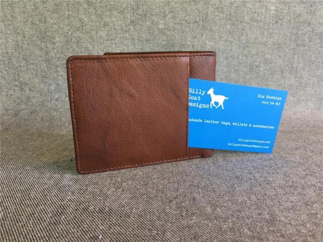 Leather Bifold wallet W2E men credit card cash external pocket Billy Goat Design