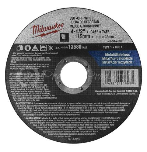 "4.5/"" Cut Off Wheels For Grinders On Metal /& Stainless Steel Milwaukee 5 Pack"