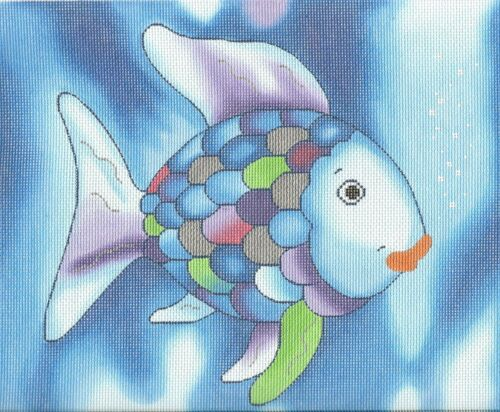 "The RAINBOW FISH handpainted Needlepoint Canvas 10/""x8.5/"" LEE NeedleArts"