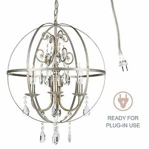 Crystal globe chandelier round orb cage sphere plug in ceiling image is loading crystal globe chandelier round orb cage sphere plug aloadofball Image collections