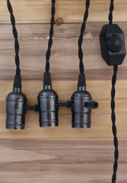 Triple Black Socket Vintage Pendant Light Cord wDimmer 17 FT  Black Cloth Cord