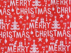 HAPPY CHRISTMAS Green and white polycotton material fabric for craft bunting