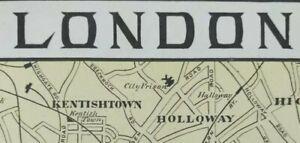 Vintage-1900-LONDON-ENGLAND-Map-11-034-x14-034-Old-Antique-Original-KENSINGTON-PALACE