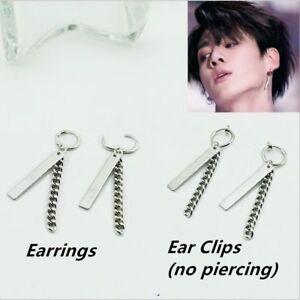 Jungkook-JK-Fake-Love-Yourself-Chain-Silver-Earrings-Punk-Ear-Stud-Clips-FR773
