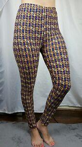 EUC-LuLaRoe-TC-Leggings-Onesize-Blue-Gold-Mustard-Yellow-Geometric-Subway-Tile