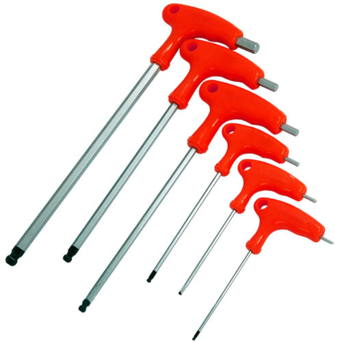 6pc T-Poignée Longue Portée Balle Fin Hex Key Set H2-H8mm Allen Tournevis Outils
